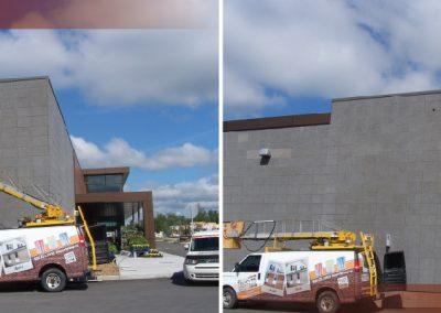 Teinture de brique en hauteur avant/après à Ottawa - Ravalement Rive-Sud à Lemoyne