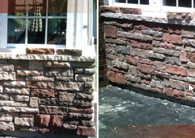 Teinture de mur en pierre à Ottawa avant/après - Teinture Héritage à Lemoyne